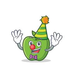 clown green apple character cartoon vector image