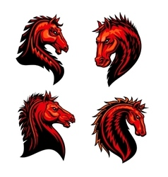 Flaming horse mustang bronco or racehorse mascot vector image vector image