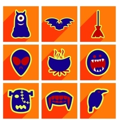 Flat with shadow concept hallowe en stylish icons vector