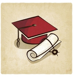Graduation cap and diploma old background vector image vector image