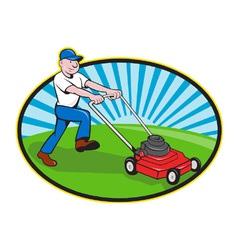 Lawn Mower Man Gardener Cartoon vector image vector image