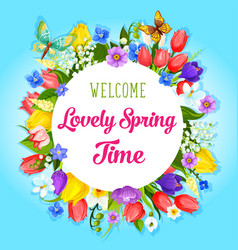 spring time flowers greeting poster vector image vector image