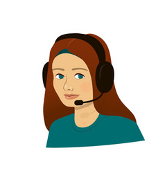 support girl with headphones - call center vector image