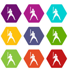 baseball player with bat icon set color hexahedron vector image vector image