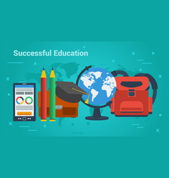 business banner-successful education vector image