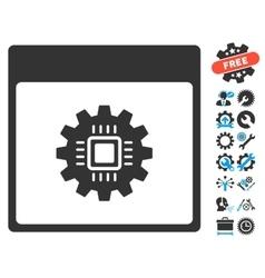 Chip Gear Calendar Page Icon With Bonus vector image vector image