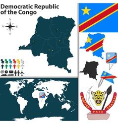 Democratic Republic of the Congo map vector image