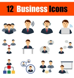 Flat design business icon set vector image vector image