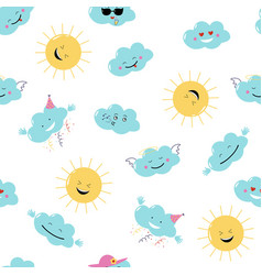funny emoji clouds and sun seamless vector image