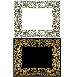 Golden frame with decorative floral elements vector image