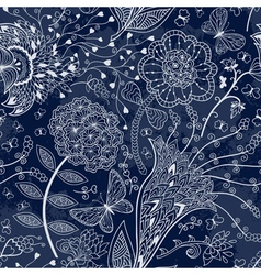 seamless floral pattern on a dark blue background vector image vector image