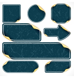 vintage black stickers and labels with damaged sur vector image