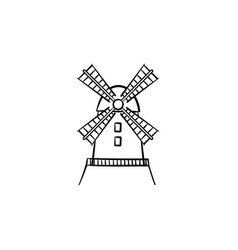 windmill hand drawn sketch icon vector image