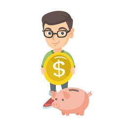 Caucasian boy putting a coin into a piggy bank vector