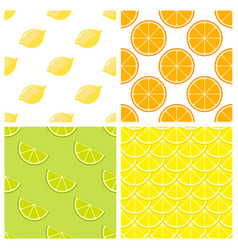citrus fruits bright seamless pattern vector image