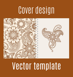 cover design with henna mehendi pattern vector image