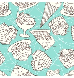 Holiday seamless pattern from sweet cakes and vector image vector image