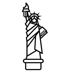 liberty statue new york line icon sign vector image vector image
