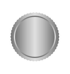 modern metal silver circle metal badges labels vector image