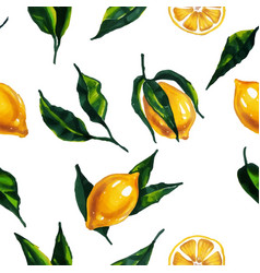 watercolor seamless pattern with lemon and leaves vector image vector image
