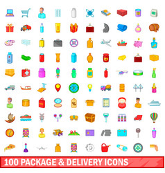 100 package and delivery icons set cartoon style vector image