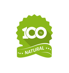 100 percent natural green label with ribbon vector image