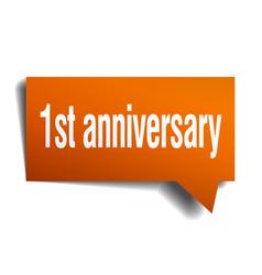 1st anniversary orange 3d speech bubble vector image