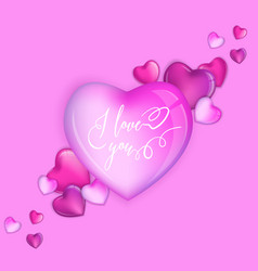 3d colorful hearts for happy valentines day card vector image