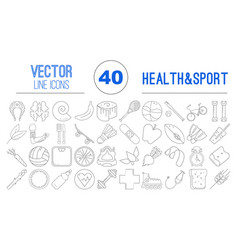 40 outline icons of healthy food and sport vector image