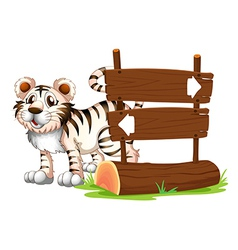 A tiger at the back of wooden signboard vector