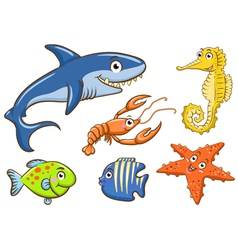 aquatic animals set vector image