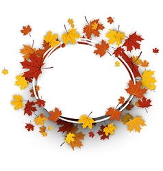 Autumn oval background with maple leaves vector