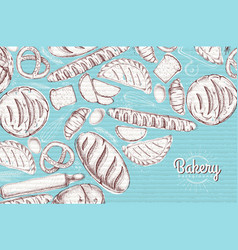 Bakery background top view of bakery products vector