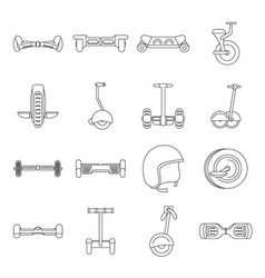 Balancing scooter icons set outline style vector