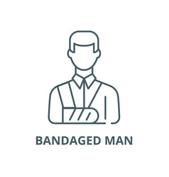 Bandaged man line icon linear concept vector