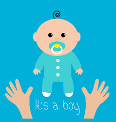 Bashower card its a boy two human hands mother vector