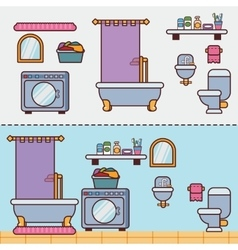 Bathroom with furniture in flat style vector