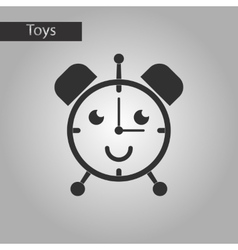 black and white style toy alarm clock vector image