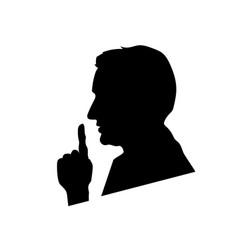 black mans face profile shhh icon on white vector image