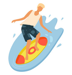 boy wearing t-shirt and shorts surfing vector image