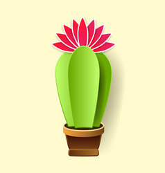 cactus in paper art style craft vector image