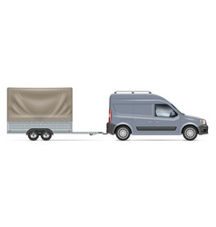 car with trailer side view realistic vector image
