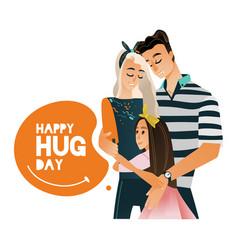cartoon big family character hugging winter vector image