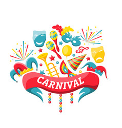 celebration festive banner for happy carnival vector image