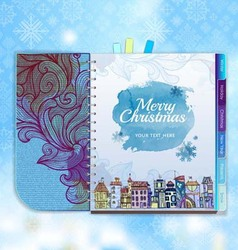 Christmas background Notebook Decorative city vector image