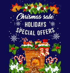 Christmas holiday sale and discount offer banner vector