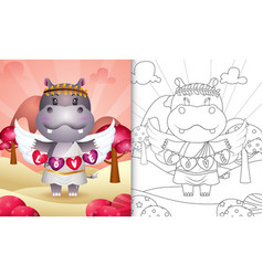 Coloring book for kids with a cute hippo angel vector