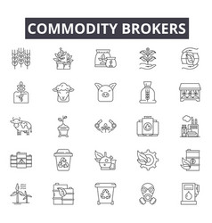 Commodity brokers line icons signs set vector