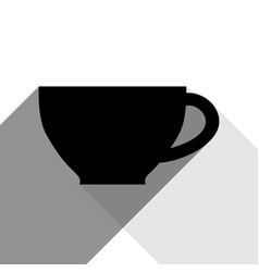 cup sign black icon with two flat gray vector image