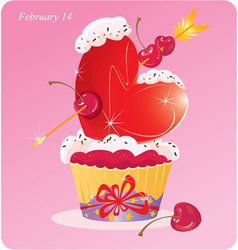 Cute Cupcake with Heart vector image